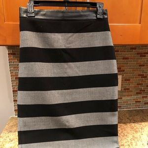 Gray and black striped pencil skirt